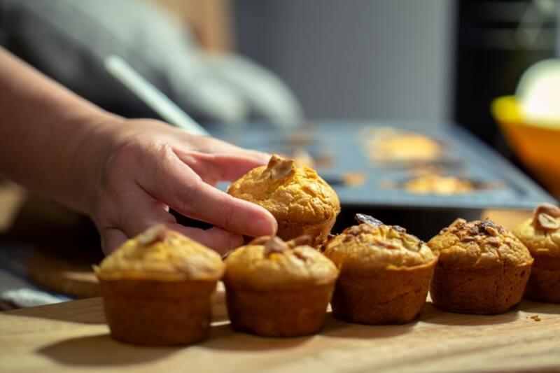 receta para preparar muffins de nuez